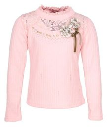 Cutecumber Full Sleeves Party Wear Sweater Top Floral Appliques - Pink
