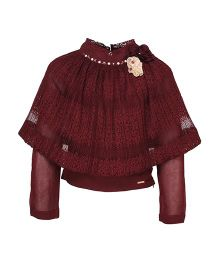 Cutecumber Party Wear Winter Cape Top Sequin Detailing - Maroon