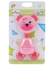 1st Step Flexi Neck Rattle Teether Pink - 14 cm