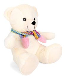 Funzoo Muffy Teddy Bear Soft Toy With Muffler Light Cream - Height 30 cm