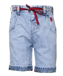 Tales & Stories Denim Shorts With Drawstring - Light Blue