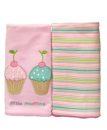 Kiwi Baby Blankets Muffins Embroidery And Stripe Pack of 2 - Pink