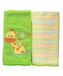 Kiwi Baby Blankets Giraffe Embroidery And Stripe Pack of 2 - Green Yellow
