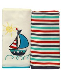 Kiwi Baby Blankets Ship Embroidery And Stripe Pack of 2 - Blue Red Off White