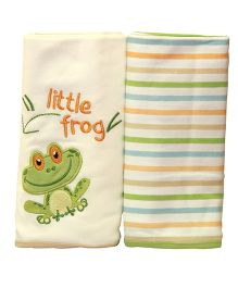 Kiwi Baby Blankets Frog Embroidery And Stripe Pack of 2 - Off White Green
