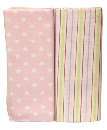 Kiwi Baby Blankets Pack of 2 Hearts And Stripes Print - Pink