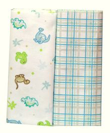 Kiwi Baby Blankets Pack of 2 Dinosaurs And Checks Print - White Blue