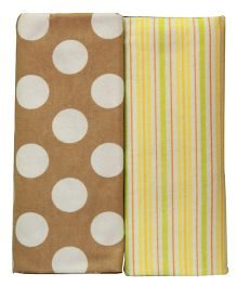 Kiwi Baby Blankets Pack of 2 Polka Dots And Stripes Print - Brown Green