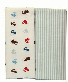 Kiwi Baby Blankets Pack of 2 Cars And Stripes Print - White Grey