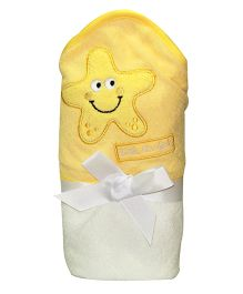 Kiwi Hodded Baby Towels Star Embroidery - Yellow