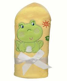 Kiwi Hodded Baby Towels Froggy Embroidery - Yellow