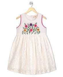 Budding Bees Embroidered Printed Fit & Flare Dress - White