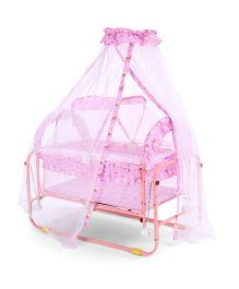 Baby Cradle With Mosquito Net Bear And Floral Print - Pink