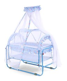 Baby Cradle With Mosquito Net Bear And Floral Print - Blue