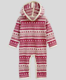 A.T.U.N Hooded Jumpsuit Snowflake Jaquard - Cherry Red