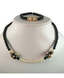 Tiny Closet Kundan Bead Necklace & Bracelet - Black