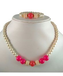 Tiny Closet Pearl Necklace & Bracelet Set - Pink & Orange