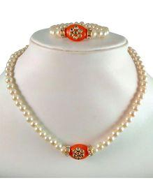 Tiny Closet Kundan Stone Necklace & Bracelet Set - Orange