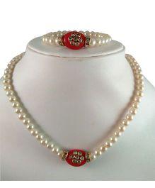 Tiny Closet Kundan Stone Necklace & Bracelet Set - Red