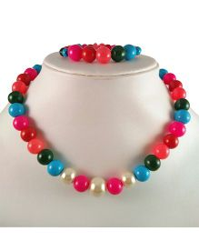 Tiny Closet Beads Necklace And Bracelet Set - Multicolor
