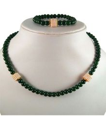 Tiny Closet Pearls Bead Necklace And Bracelet Set - Green