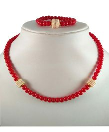 Tiny Closet Pearls Bead Necklace And Bracelet Set - Red