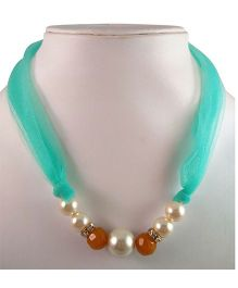 Tiny Closet Pearl Net Necklace - Green & Mustard