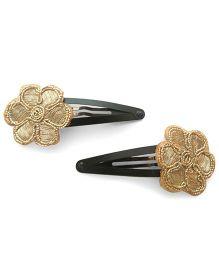 Tiny Closet Set Of 2 Flower Hair Clips - Golden