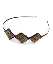 Tiny Closet Hair Band With Diamond Detail - Purple
