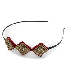 Tiny Closet Hair Band With Diamond Detail - Red