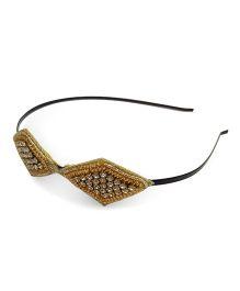 Tiny Closet Hair Band With Diamond Detail - Golden