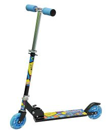 Happy Kids Foldable And Height Adjustable Skating Scooter - Black Blue