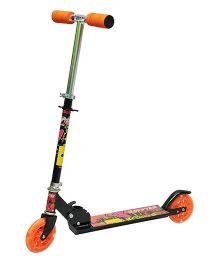 Happy Kids Foldable And Height Adjustable Skating Scooter - Black Orange