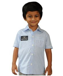 Snowflakes Half Sleeves Stripe Shirt Aircraft Dept Patch - Blue White