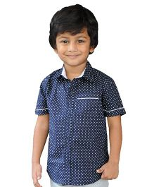 Snowflakes Half Sleeves Printed Shirt - Dark Blue