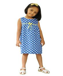 Snowflakes Sleeveless Polka Dot Frock - Blue White
