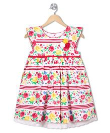 Young Birds Floral Flower Print Dress - Red