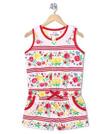 Young Birds Floral Print Dungaree - Red