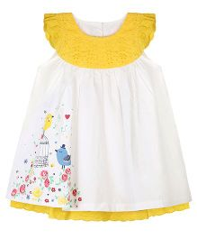 Young Birds Quirk Print Dress - Yellow
