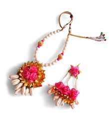 Soulfulsaai Gota Roses Necklace Side Teeka - Pink