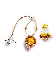 Soulfulsaai Gota Roses Necklace Side Teeka - Yellow