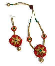 Soulfulsaai Gota Flower With Pearl Edging Necklace & Maang Teeka - Red
