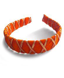 Soulfulsaai Gota Criss Cross Broad Hair Band - Orange