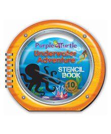 Purple Turtle Underwater Stencil Book - English