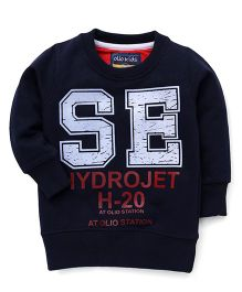 Olio Kids Full Sleeves Hydrojet H-20 Print Sweatshirt - Navy