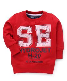 Olio Kids Full Sleeves Hydrojet H-20 Print Sweatshirt - Red