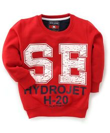 Olio Kids Full Sleeves Sweatshirt Hydrojet Print - Red