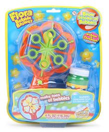 Comdaq Flora Bubble Blower With Bubble Solution - Orange Green