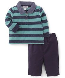 Pumpkin Patch Full Sleeves T-Shirt And Pants Set The Stripes Print - Green Blue