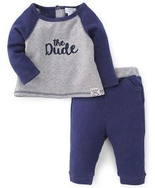 Pumpkin Patch Night Wear T-Shirt And Pants Set The Dude Print - Grey Blue